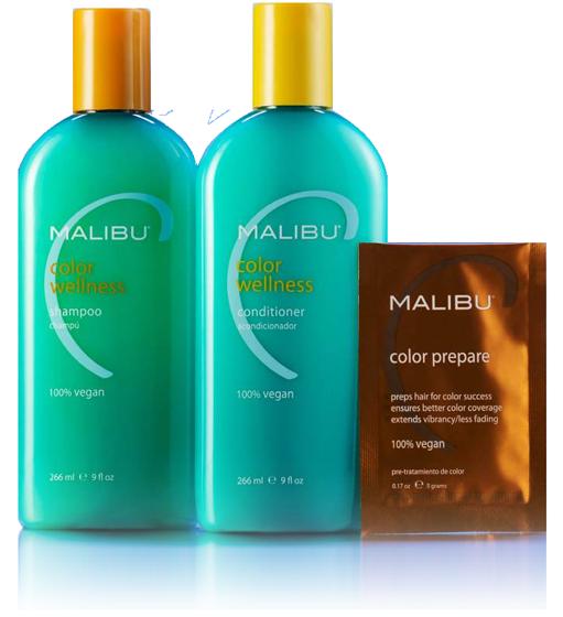 malibu shampoo, conditioner, color prepare